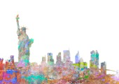 New York Skyline Color Splash