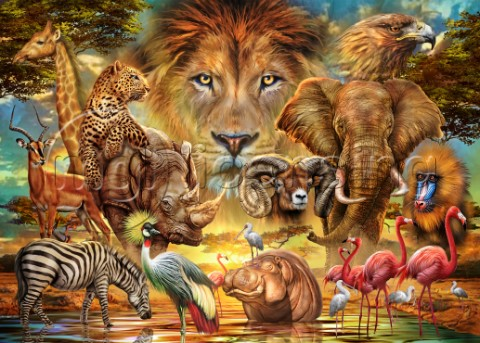 African Animals Collage variant 1