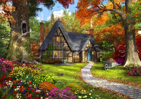A small cosy cottage in a Autumnal woodland