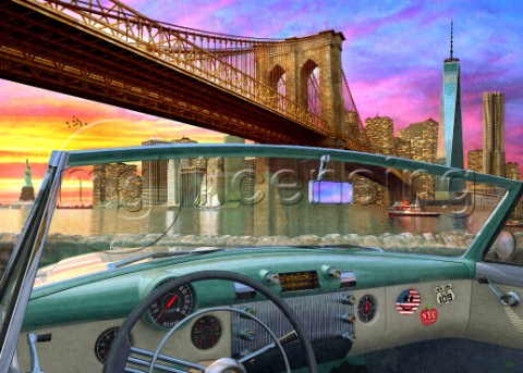 Brooklyn Bridge In Car