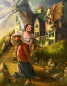 Windmill background, with girl holding a basket. Friendly dragon stealing fruit.