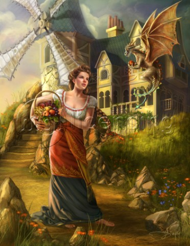 Windmill background with girl holding a basket Friendly dragon stealing fruit