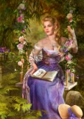 Garden scene of blonde girl sitting on the floral swing, with the book in the lap...