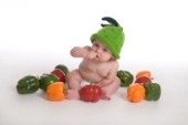 Baby with peppers