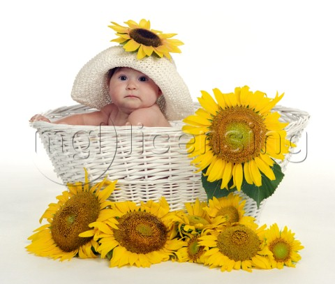 Sunflower baby hat