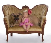 Girl and Dog on Comfort Couch MF 5605