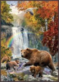 Bears Under Waterfall