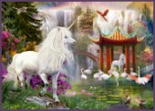 Unicorns Under Chinese Waterfall