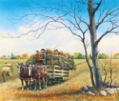 The last harvest - horses and haywagon