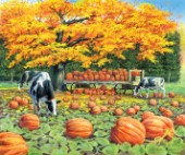 Harvest wagon - cows and pumpkins