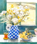 Freesias and chequered jug
