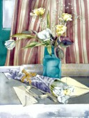 Roses, tulips and striped curtains