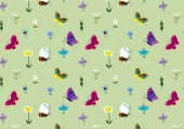 Pattern - green butterflies