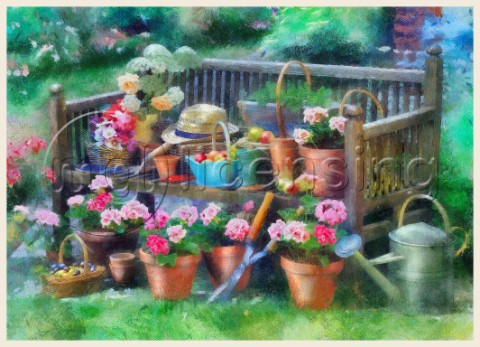 Painterly Garden Bench