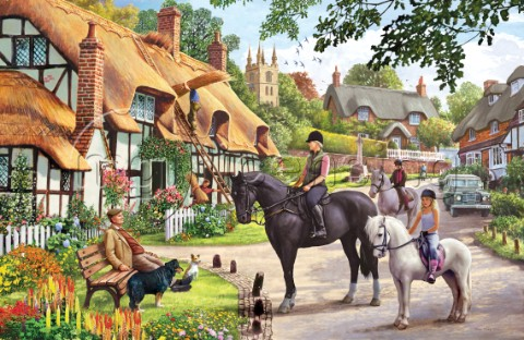 Horse Riders in Village