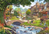 Vilage scene with a stream and stone bridge with children playing and lots of characters.