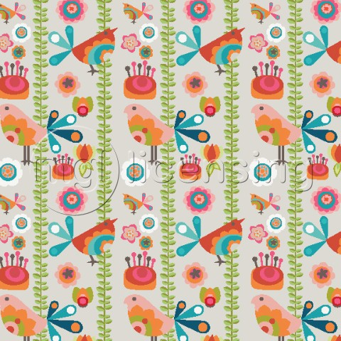 Birds with Flowers Pattern 2
