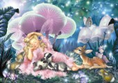 Fairy asleep & baby badger