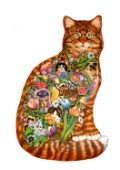 A shaped Tabby Cat filled with a montage of cats peeking through garden flowers. Based on the original Tapestry Cat.