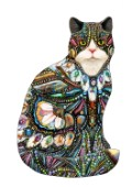 A shaped cat filled with jewels, feathers an fabrics.
