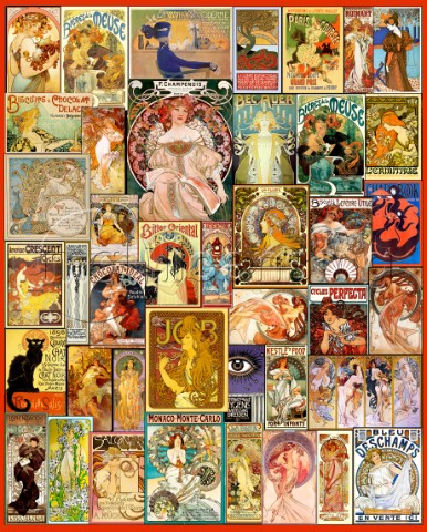 Art Nouveau Poster Collage