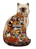 A new shaped version of Cats Galore retitled as Mischief Makers.Cats and kittens playing in drawers and balls of yarn.