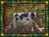 Whimsical scene of a Cow with a body map of the world and farm friends.
