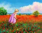 Little girl gathering poppies