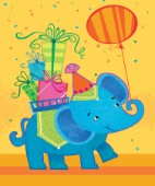 Elephant with Present and Balloon