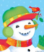 Snowman with Bird on Hat