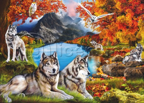 Wolves in Autumn Forest