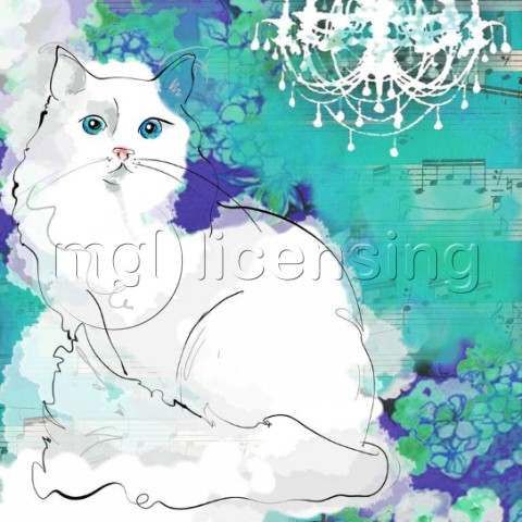 Painted cat  White