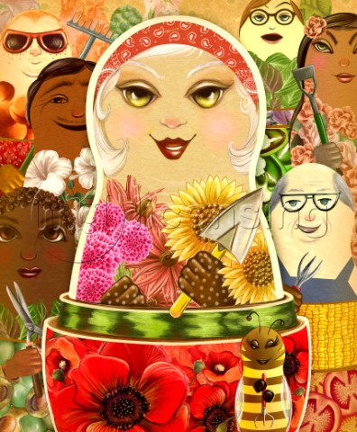 Summer cover for GreenPrints magazine using nesting dolls as symbolism for the abundance of summer g