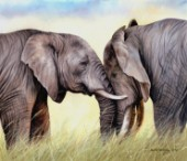 Oil on canvas oil painting of two African elephants