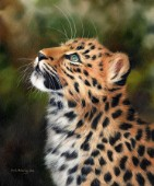 Oil painting of an African leopard cub