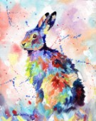 Oil on canvas of a Hare in multicolour