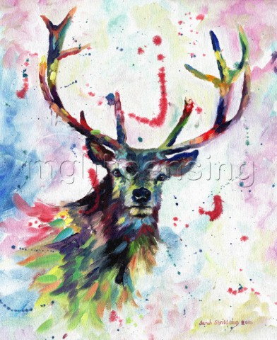 Abstract Stag in multicolour Oil on canvas