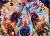 Brown bear painted in multicolours in oil paints on canvas