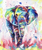African elephant painted in oil paints in muilt colour.
