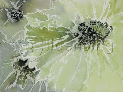Green Abstract Flowers