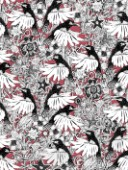 repeating pattern ~ illustrated hummingbird floral