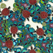 repeating pattern ~ swimming turtles in coral reef