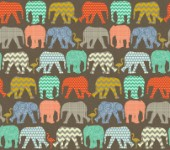 geometric pattern filled elephants and flamingos on linen texture (no pink)