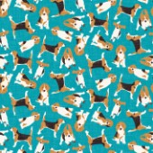 repeating pattern ~ scattered beagles on blue
