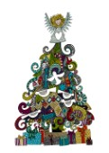 illustrated Christmas tree, gifts and angel