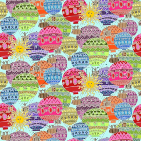 repeating pattern  happy hot air balloons and sun
