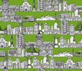 repeating pattern ~ Ink illustrated hotchpotch of San Francisco city landmarks, monuments and buildings.