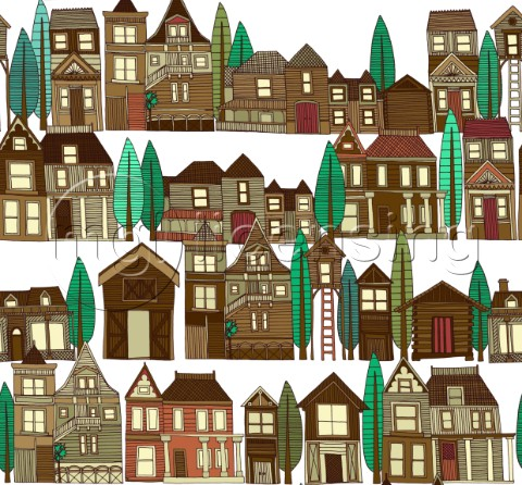 repeating pattern  illustrated wooden buildings