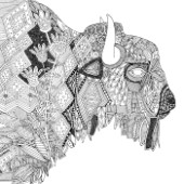 illustrated bison ~ black white outline