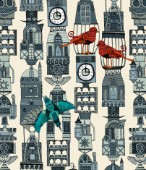steampunk inspired birds and architectural towers ~ also available as a repeating pattern